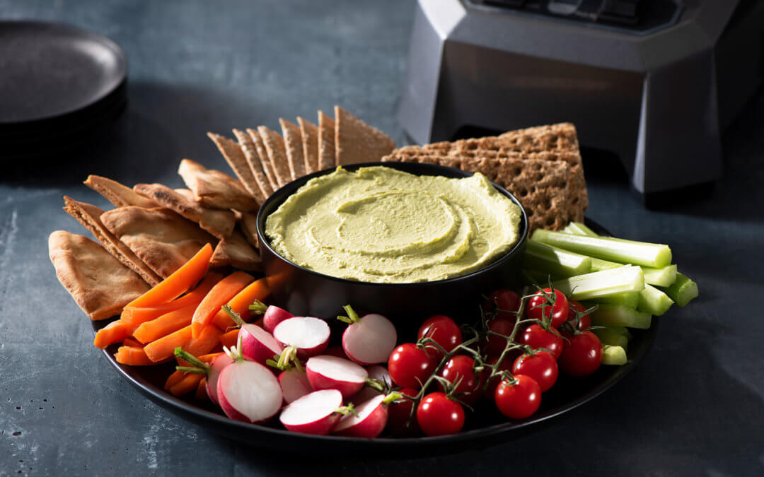 Cheddar Cheese and Onion Dip with Crackers and Crudités